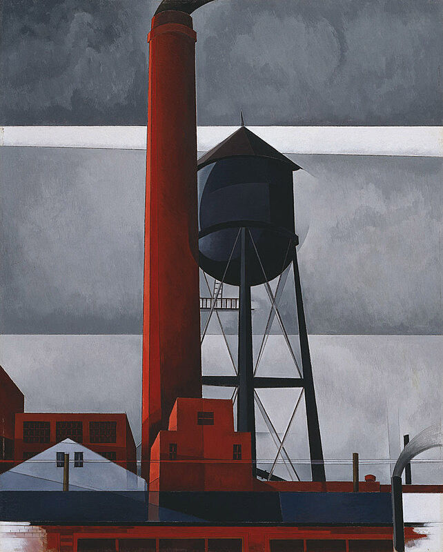 Painting of a black water tower and red chimney tower.